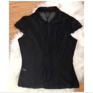 Express Vintage Lace Top with ruffle front, size M